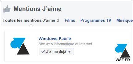 tutoriel Facebook page likée j'aime Windows Facile