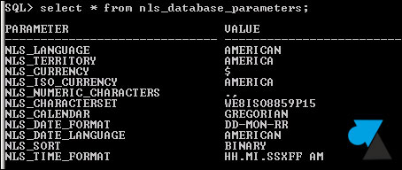Oracle character set WE8ISO8859P15 jeu caracteres