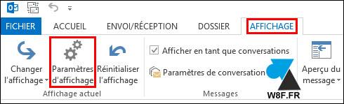 tutoriel Outlook parametres affichage