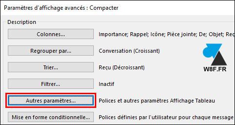 tutoriel Outlook agrandir taille parametres