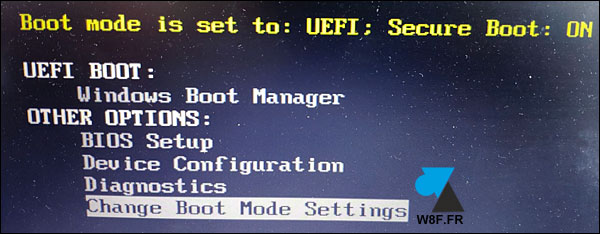 tutoriel Dell boot mode UEFI Legacy Secure Boot ON OFF