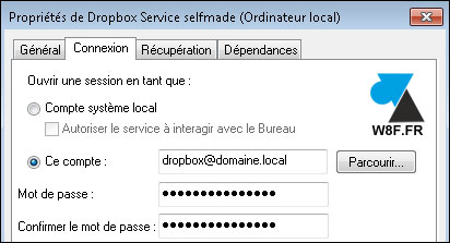 tutoriel Dropbox service Windows Server