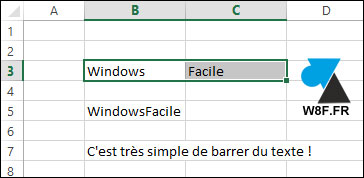 tutoriel texte barré barrer Excel Microsoft Office