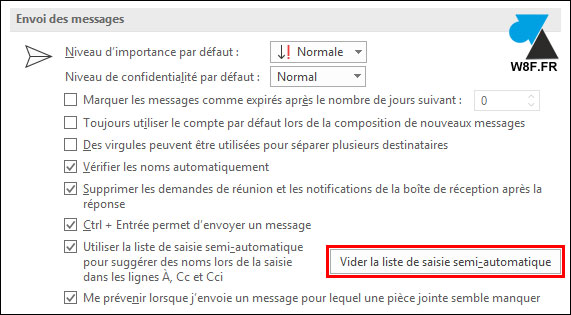 tutoriel outlook courrier vider la liste de saisie semi automatique