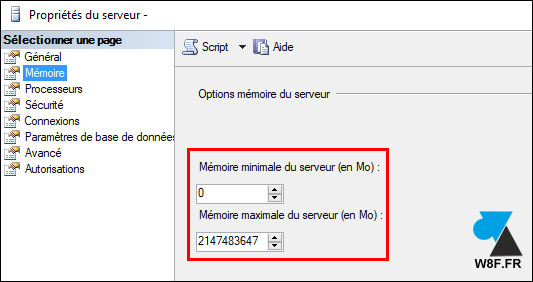 tutoriel configurer RAM memoire vive max SQL Server MSSQLSERVER