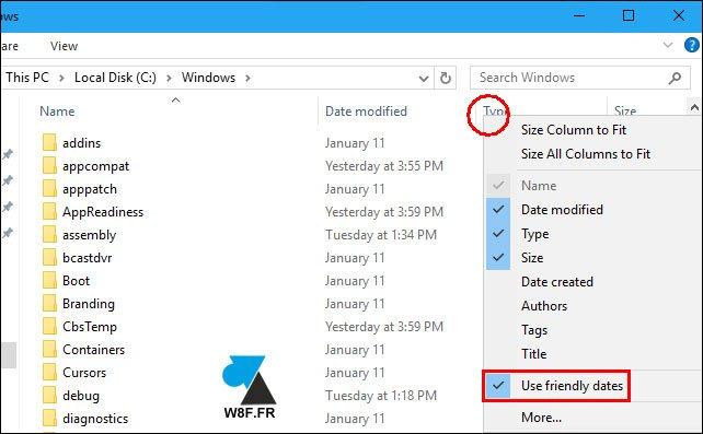 tutoriel Windows 10 explorateur friendly dates