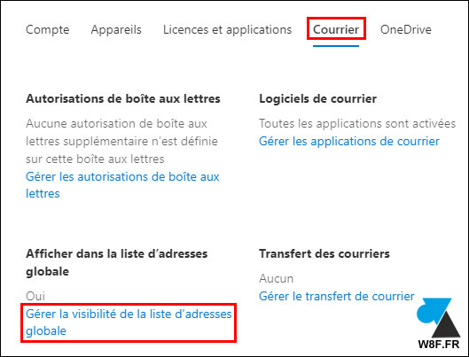 tutoriel Office 365 Exchange Online masquer adresse carnet