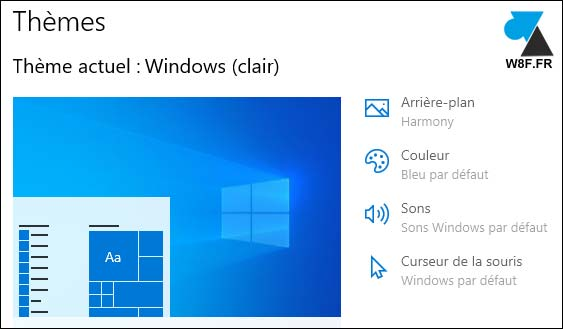 Windows 10 theme clair light 1903