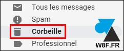 tutoriel vider corbeille Gmail
