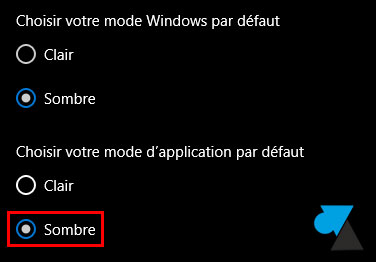 tutoriel Windows 10 mode application sombre dark noir