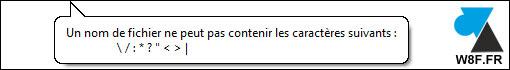 caractère interdit fichier dossier Windows