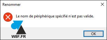 nom de fichier interdit Windows