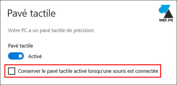 tutoriel désactiver pavé tactile touchpad trackpad Windows 10 laptop