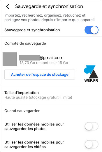 tutoriel sauvegarde automatique photo iPhone Google Photos