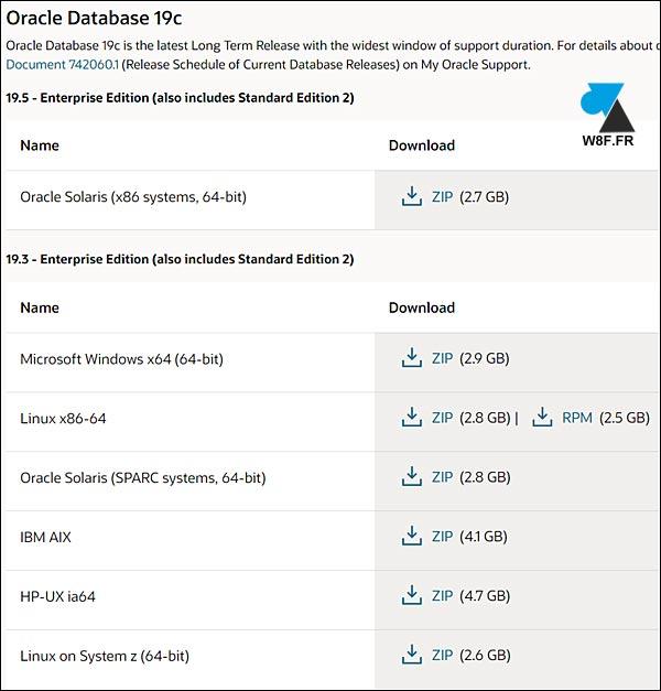 télécharger Oracle Database 19 19c download