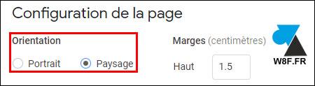 tutoriel Google Docs modifier orientation page portrait paysage
