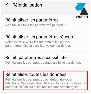 tutoriel reset Samsung Galaxy réinitialisation données