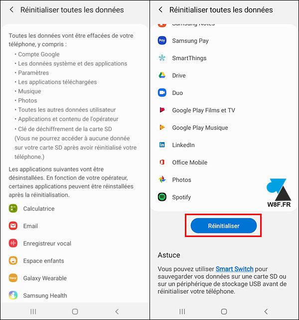 tutoriel reset Samsung Galaxy réinitialiser