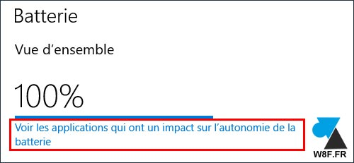 Windows 10 parametres Systeme Batterie