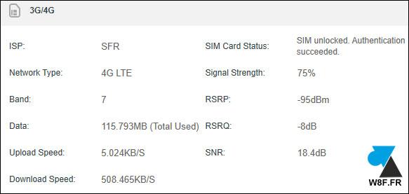 status carte sim 3G 4G routeur tplink