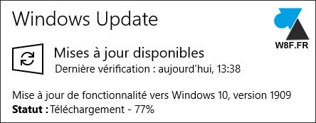 tutoriel mise à jour Windows 10 1909 Novembre 2019 update
