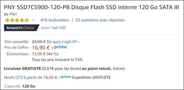 disque SSD PNY 120 go Amazon pas cher