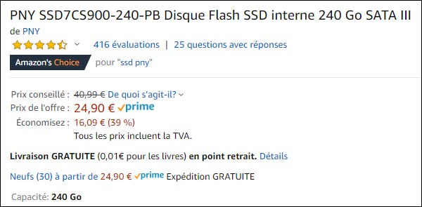 disque SSD PNY 240 go Amazon pas cher
