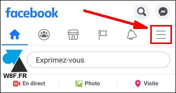 tutoriel Facebook Android menu options
