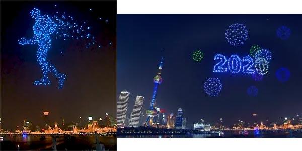 drone feu artfice Chine 2020