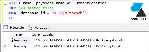 SQL Server where is tempdb mdf ldf
