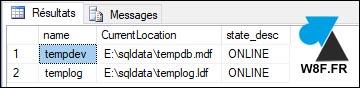 SQL Server alter database tempdb mdf ldf