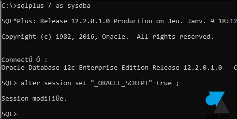 Oracle alter session set oracle script true