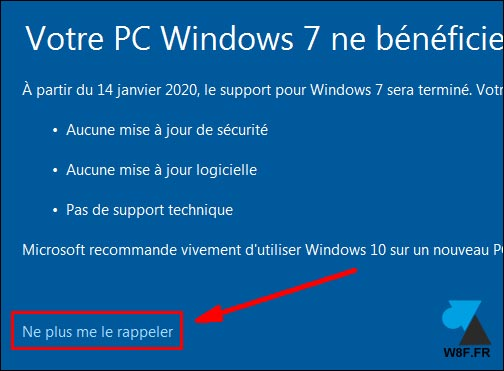 fin support Windows 7 stop rappel