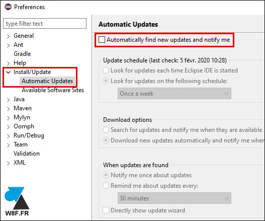 Eclipse disable automatic update