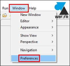tutoriel Eclipse Windows Preferences settings options