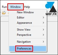 tutoriel Eclipse Windows Preferences settings options