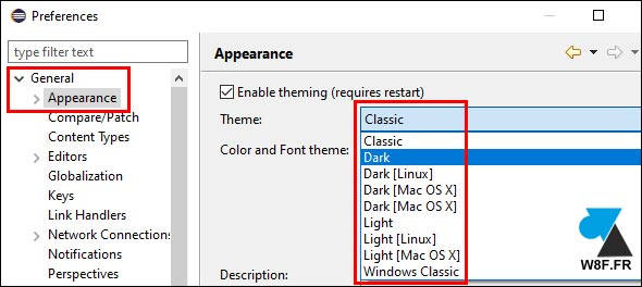 tutoriel Eclipse Windows Preferences theme dark light clair foncé