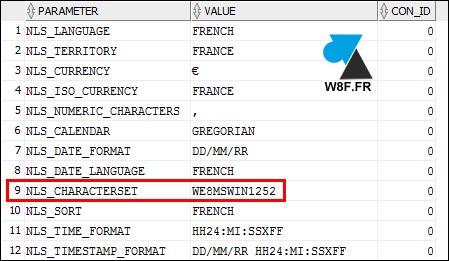 Oracle NLS_CHARACTERSET NLS CHARACTERSET WE8MSWIN1252