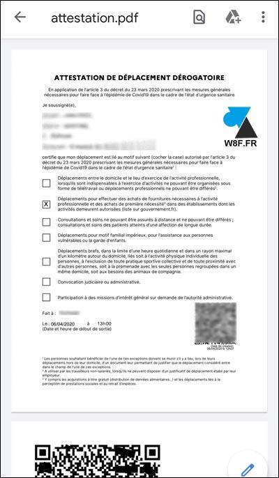 attestation déplacement dérogatoire PDF smartphone QR code