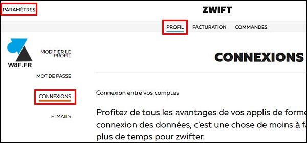 Zwift paramètres profil compte connexions