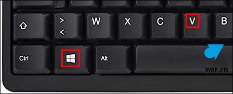 touche Windows + V clavier