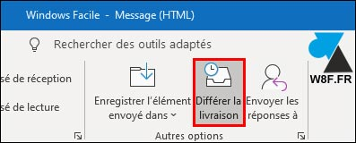 Outlook différer la livraison