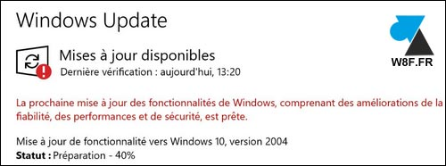 tutoriel Windows 10 2004 update mise à jour