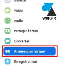 Zoom arriere plan virtuel menu