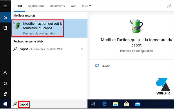 tutoriel Windows 10 options veille prolongee capot