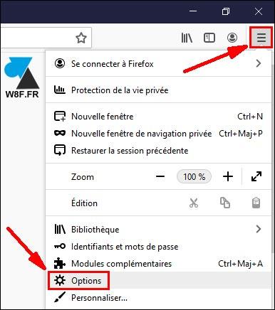 tutoriel firefox menu options