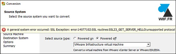 VMware Converter SSL encryption error vCenter ESXi