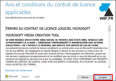 Windows 10 Media Creation Tool accepter contrat de licence