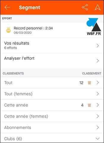 tutoriel Strava segment classement details