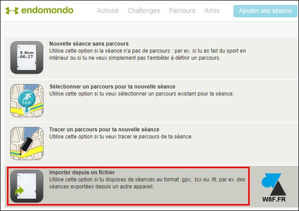tutoriel importer fichier GPX TCX FIT Endomondo GPS
